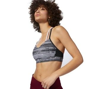 Reebok Hero Strappy Padded Stratified Striped Bra